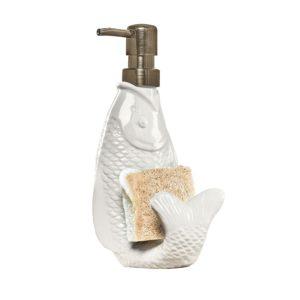 Mud Pie Fish Shaped Liquid Soap Dispenser & Sponge Holder - White Ceramic Bronze Finish Pump - 8 in. x 4 in.