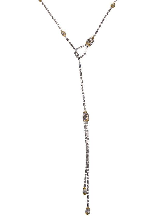 two tone Crystal Station Single Chain Lariat