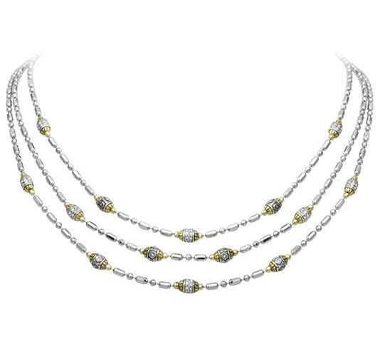 two tone three strand beaded necklace handcrafted by john medeiros