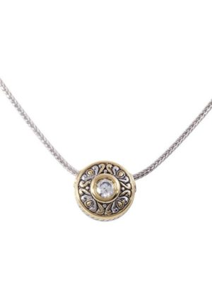 two tone Sliding Circle Pendant on Chain handcrafted by john medeiros