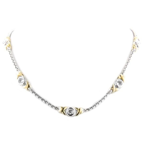 two tone 5 Station Circle Necklace handcrafted by john medeiros
