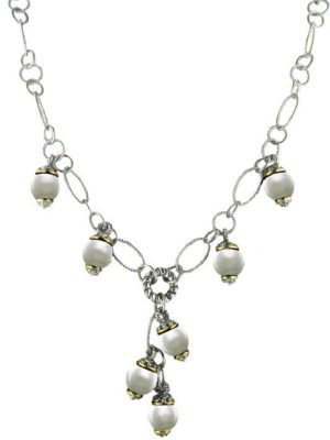 "Ocean Images Collection Seashell Pearl Drop Necklace by John Medeiros Jewelry Collections Length: 16-18"" Adjustable Center Motif: 1¾"" Drop"