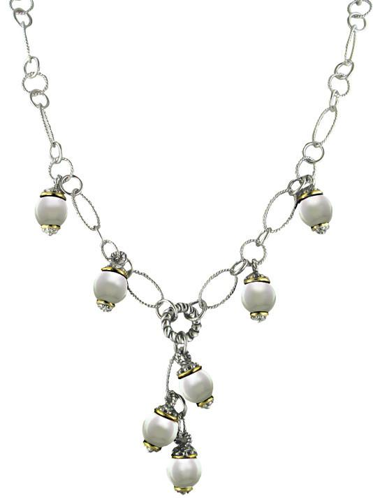 """Ocean Images Collection Seashell Pearl Drop Necklace by John Medeiros Jewelry Collections Length: 16-18"""" Adjustable Center Motif: 1¾"""" Drop"""