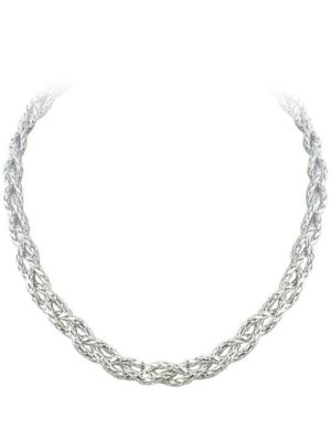 braided silver necklace handmade by john medeiros