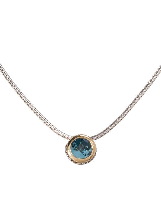 two tone aqua saphire CZ Solitaire Necklace handcrafted by john medeiros