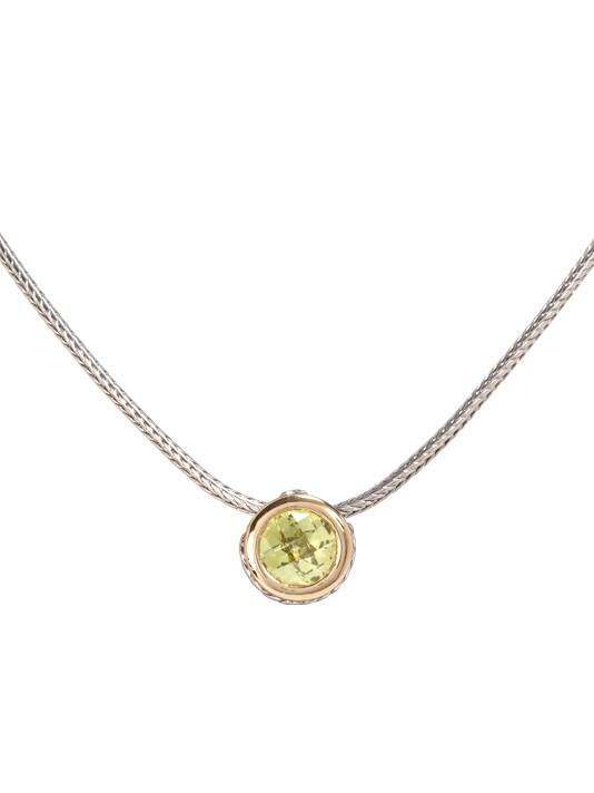 two tone peridot CZ Solitaire Necklace handcrafted by john medeiros