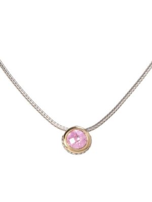 two tone pink CZ Solitaire Necklace handcrafted by john medeiros