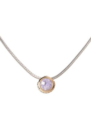 two tone lavender CZ Solitaire Necklace handcrafted by john medeiros