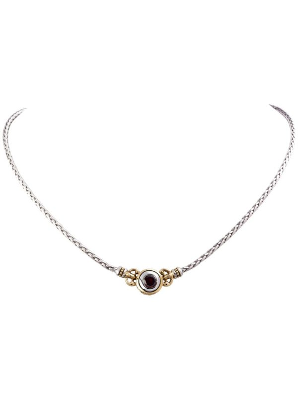 two tone 6mm CZ Single Stone Necklace handcrafted by john medeiros