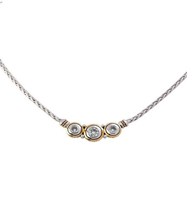 two tone 3 Stone Cubic Zirconia Necklace by john medeiros