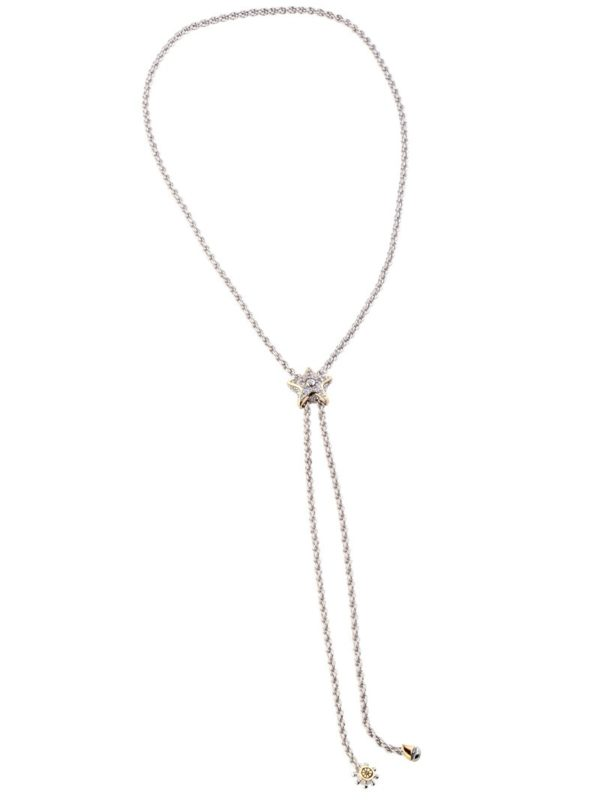 """two tone Pavé Starfish 32"""" Adjustable Bolo Necklace handcrafted by john medeiros gold and rhodium"""