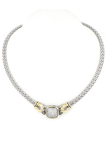 Pavé Double Strand Horseshoe Necklace handcrafted by john medeiros