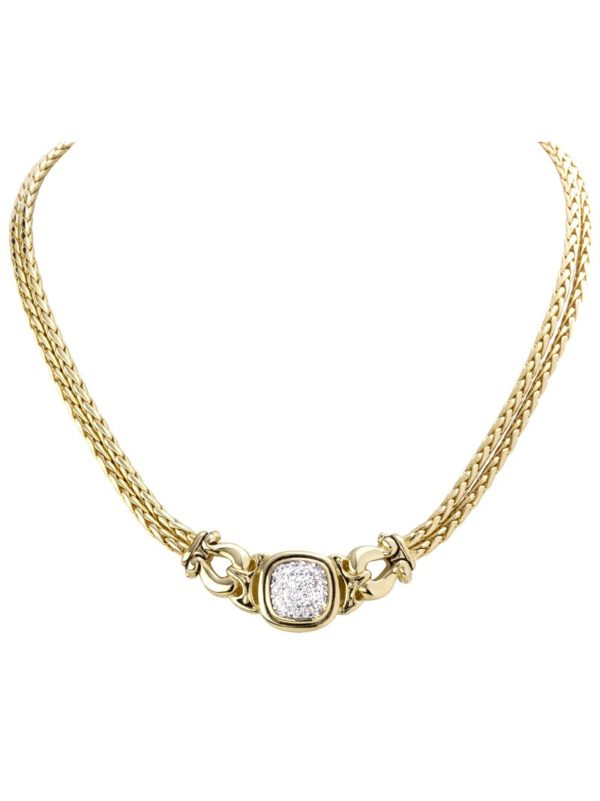 Anvil Gold & Pave Horseshoe Necklace handmade by john medeiros
