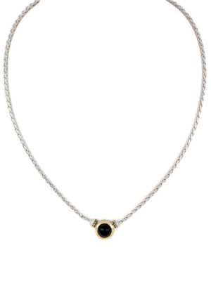 two tone Black Onyx 8mm Necklace handcrafted in the USA by john medeiros