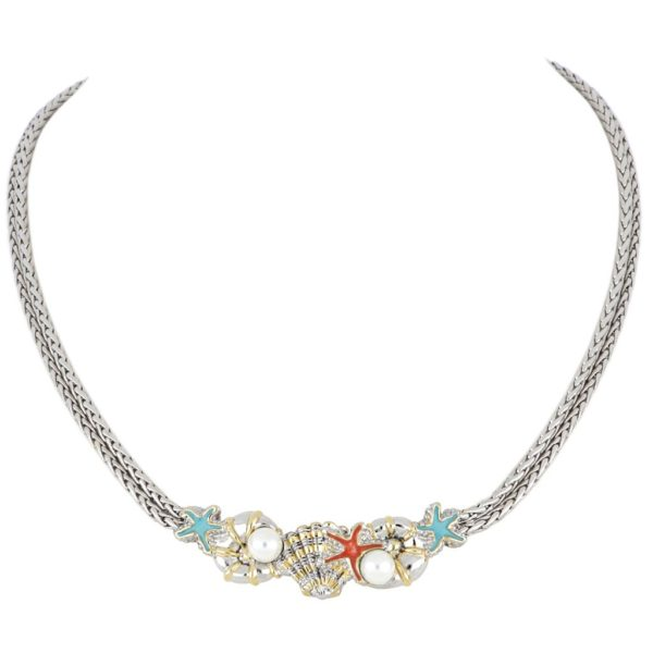 """Caraíba Collection Double Strand Necklace by John Medeiros Jewelry Collections. Let the ocean vibe of the Caribbean shine through your style. Caraíba highlights nautilus, starfish and seashell elements. Length: 18"""" Center Motif: 2""""W x 1/2""""H"""