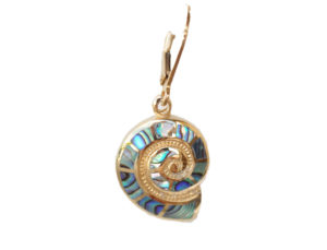Sterling silver and 18kt gold Nautilus Leverback Earrings with abalone by kovel