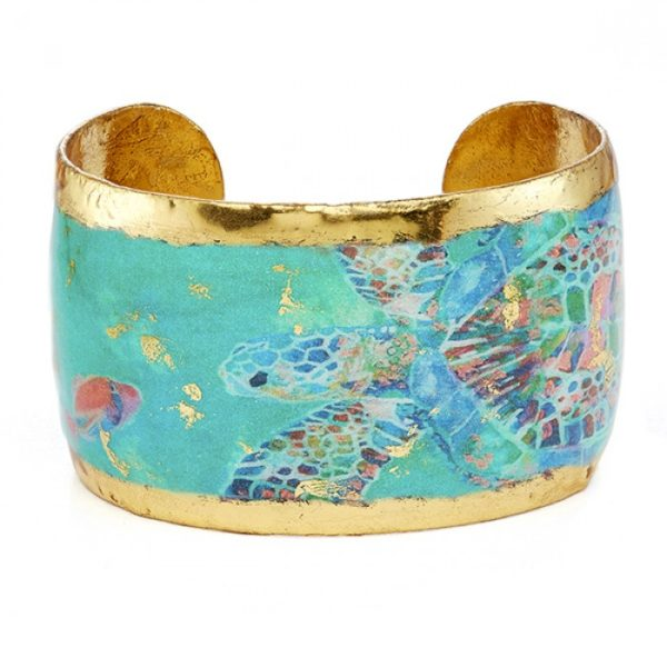 Green Mosaic Sea Turtle Cuff - 1.5""