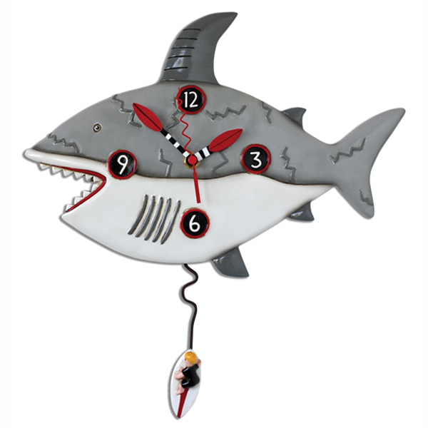 shark clock with surf board pendulum and life saver time hands