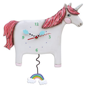Unicorn clock with rainbow pendulum