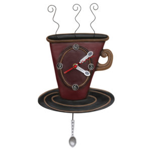 coffee cup clock with spoon pendulum by allen designs