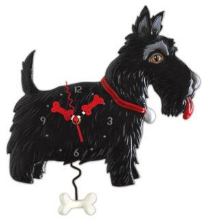 scottish terrier dog clock with bone pendulum by allen designs