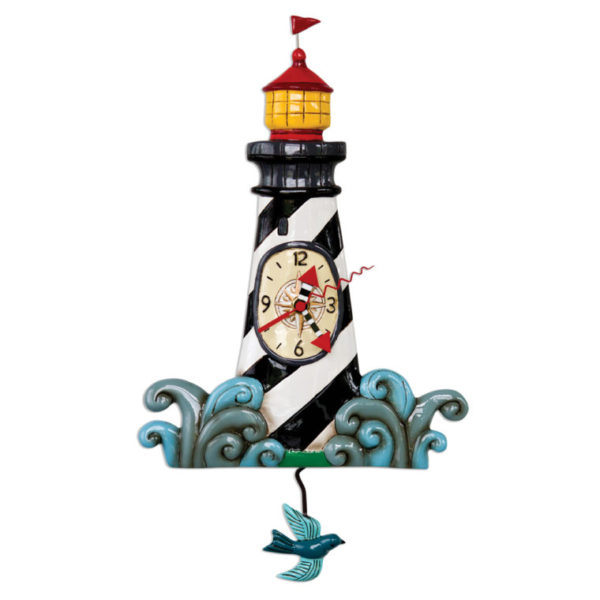 Lighthouse clock with bird pendulum.