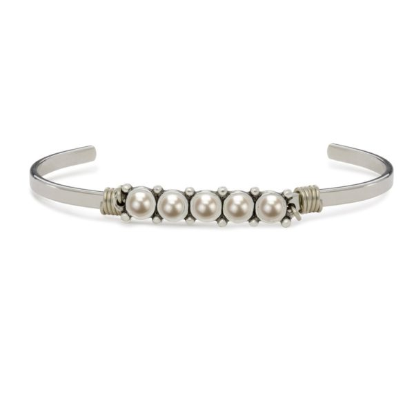 Cuff Bracelet in Crystal white Pearl handmade in the USA by luca + danni