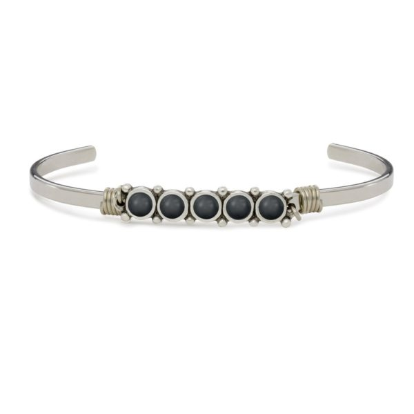 Cuff Bracelet in Crystal Jet Pearl BY LUCA AND DANNI