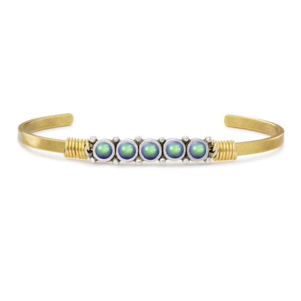 Crystal Pearl Cuff in Scarabaeus Green by luca and danni