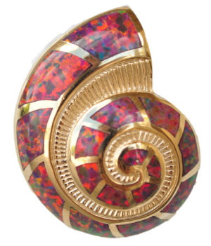 Sterling silver and 18kt gold Red Nautilus Shell pendant with opals by kovel