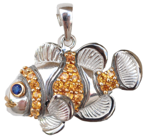 Sterling silver and 18kt gold Fancy Clownfish Pendant with opals by kovel