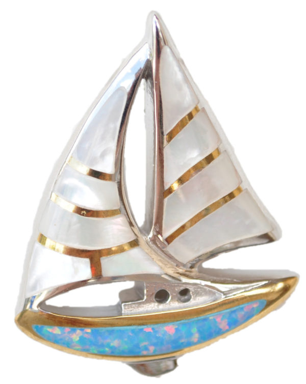 Sterling silver and 18kt gold Sailboat pendant with mother of pearl by kovel