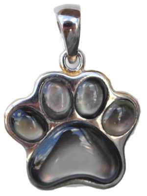 Sterling silver and 18kt gold Dog Paw Pendant with mother of pearl by kovel