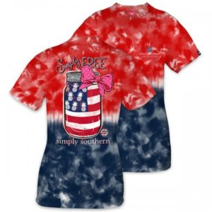 Preppy America Free with mason jar tie dye tee shirt by simply southern