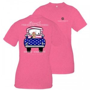 simply southern hot pink tee shirt with puppy in a car preppy freedom helcna