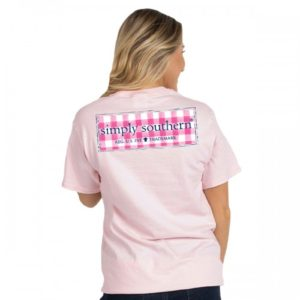 simply southern baby pink tee shirt with logo on checkered pattern Preppy logo Plaid lulu