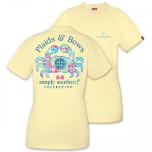 Preppy Crab plaids and bows tee shirt by simply southern