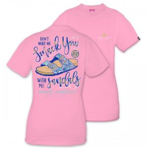 Preppy Smack you with my Sandals Flamingo pink tee shirt by simply southern