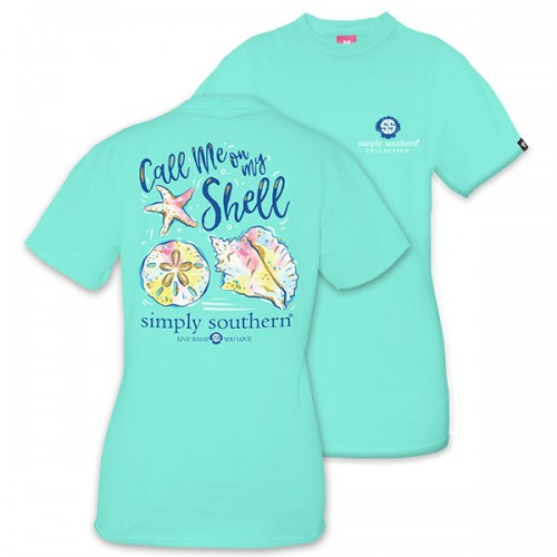 Preppy Call you on my Shell Aqua tee shirt by simply southern