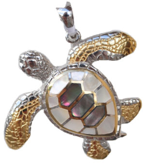 Sterling silver and 18kt gold Crawling Turtle Pendant by kovel