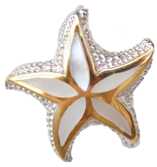 Sterling silver and 18kt gold Starfish pendant by kovel