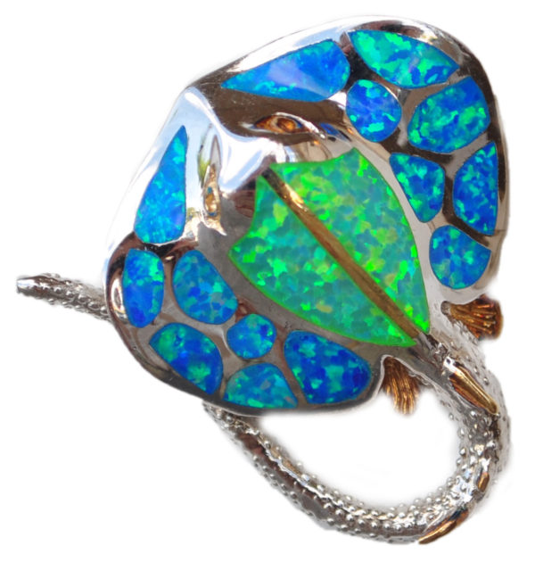 Sterling silver and 18kt gold Medium Stingray with opals by kovel