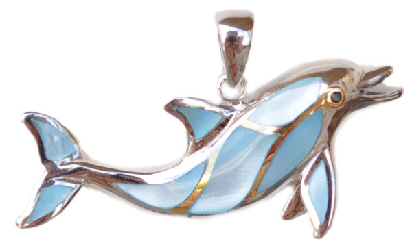 Sterling silver and 18kt gold Porpoise Pendant with mother of pearl by kovel