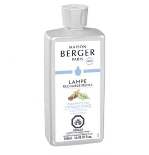 Pure white tea A fresh, delicate and subtle home fragrance that is a fleeting symbol of eternal beauty and is adorned with notes of bergamot, white musk and white tea. home fragrance air purifier by lampe berger maison berger