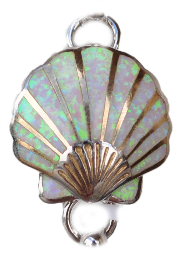 Sterling silver and 18kt gold Scallop Shell Topper with opals by kovel