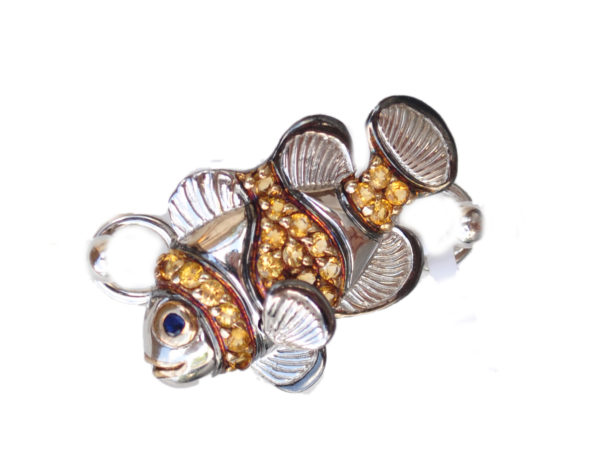 Sterling silver and 18kt gold Fancy Clownfish topper with opals by kovel