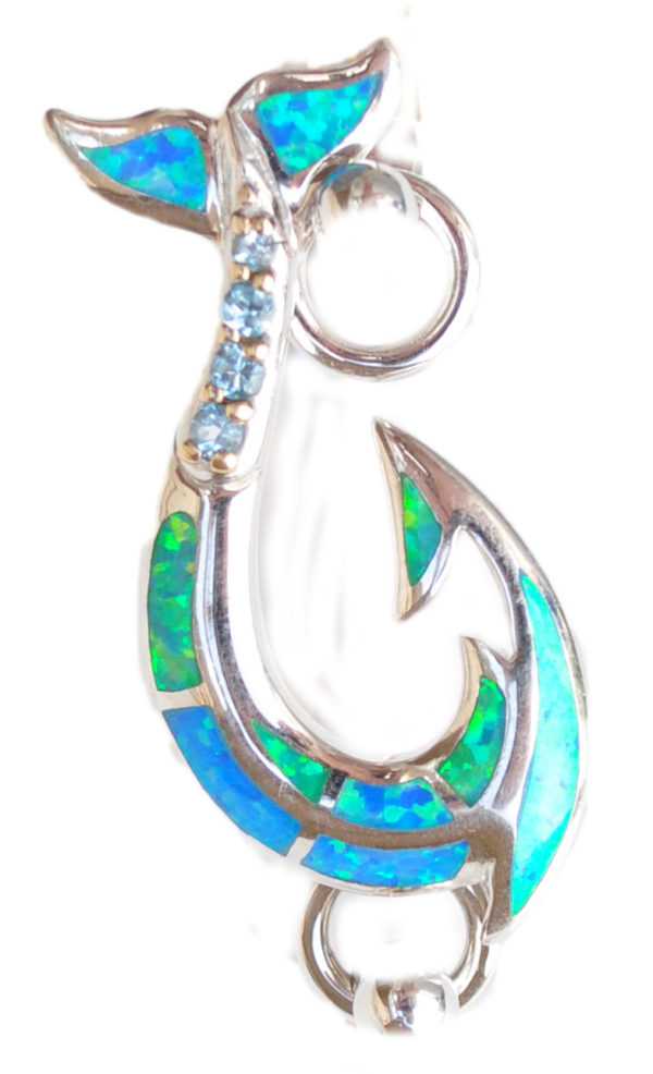 Sterling silver and 18kt gold Fancy Maori Hook topper with opals by kovel