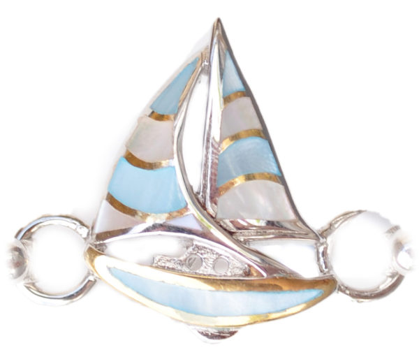 Sterling silver and 18kt gold Sailboat Topper with mother of pearl by kovel