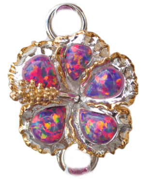 Sterling silver and 18kt gold Hibiscus Flower Topper with opals by kovel