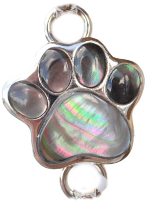 Sterling silver and 18kt gold Dog Paw Topper with mother of pearl by kovel